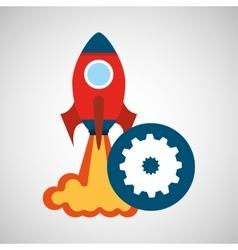 Rocket launch start up business gear work graphic vector