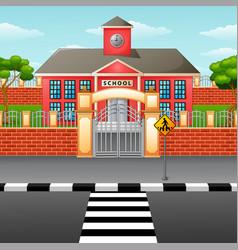 School building with crosswalk vector