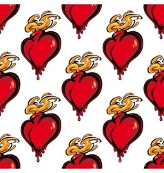 Seamless pattern of a flaming melting heart vector image