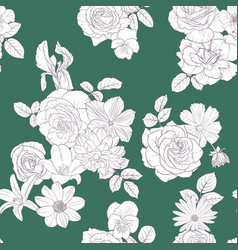seamless pattern with drawing flowers vector image
