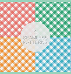 set of diagonal gingham seamless pattern vector image