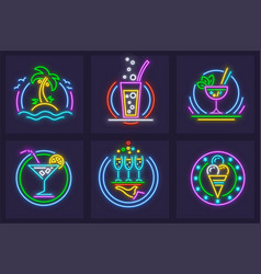 set of neon icons beach vector image