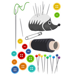 sewing accessories isolated on white vector image vector image