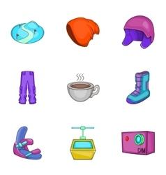 Snowboarding icons set cartoon style vector