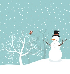 Snowman in winter vector