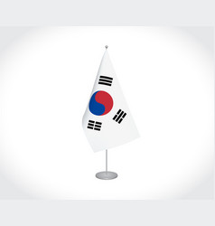 South korea flag on white background vector