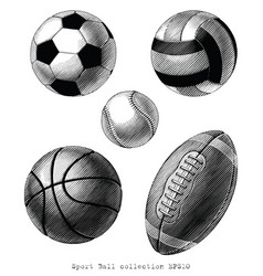 sport ball collection hand draw vinatge style vector image