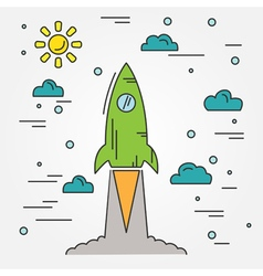 Startup Rocket thin line icon vector