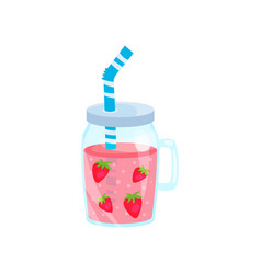 strawberry cocktail in glass jar summer time vector image