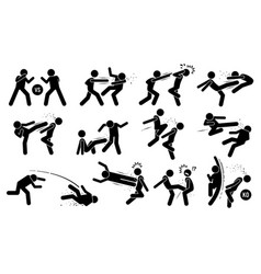 Street fighting attacking stance basic hits vector