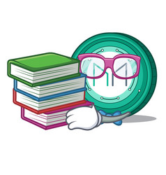 Student with book maker coin mascot cartoon vector