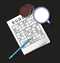 Sudoku game mug of milk and cookie vector