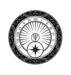 sundial black silhouette vector image