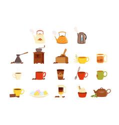 tea set various kitchen utensils tea cup and vector image