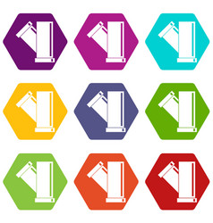 tee fitting pipe icon set color hexahedron vector image