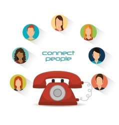 Telephone communication connected people vector
