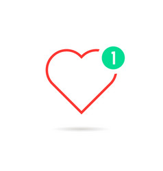 Thin line heart like notification vector