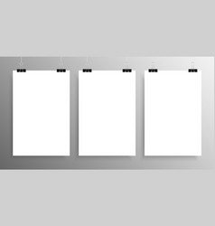 Three vertical poster mockup a4 mock-up vector
