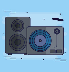 turntable and speaker icon vector image