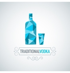 vodka bottle poly design background vector image