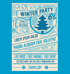 winter party flyer retro typography and ornament vector image