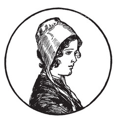 Woman with bonnet vintage engraving vector