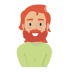 young red-haired man with long hair and a mustache vector image