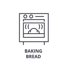 baking bread line icon outline sign linear vector image vector image