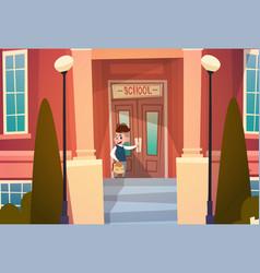 boy opening school door pupil go to classroom in vector image