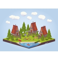 Cabins in the woods vector image