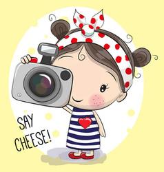 cute cartoon girl with a camera vector image vector image