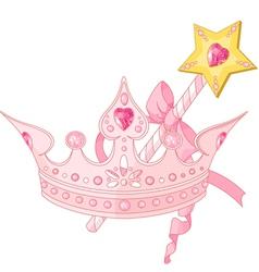 Princess crown and magic wand vector image