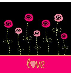 Roses with dash line stalks love card Black pink vector image