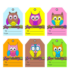 set of tags with funny owls vector image vector image
