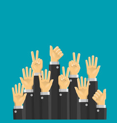 business hands up vector image