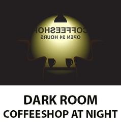 Dark room - coffee shop at night vector image