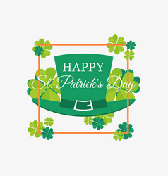happy st patricks day leprechaun hat and leaves vector image vector image