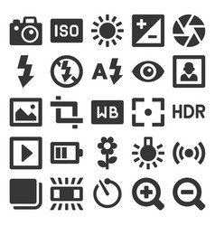 photography icons set on white background vector image