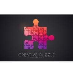 Puzzle logo Creative logo of puzzle pieces Color vector image vector image