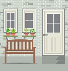 Wooden Chair With Pot Plant And Brick Background vector image vector image