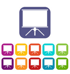 blank projection screen icons set flat vector image