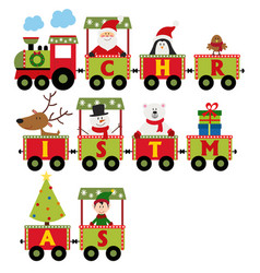 christmas train with characters vector image vector image