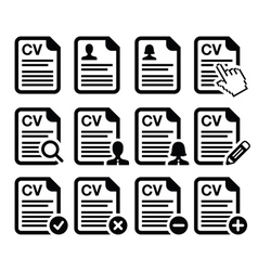 CV - Curriculum vitae resume icons set vector image vector image