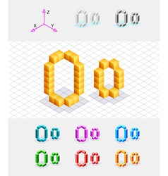 Isometric font from the cubes Letter O vector image vector image