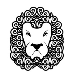 lion tattoo mane ornament leo tattooing wild vector image