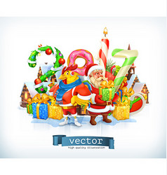 Merry Christmas and Happy New Year 2017 Santa vector image