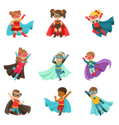 super kids set boys and girls in superhero vector image
