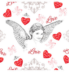 Vintage romantic seamless pattern vector image