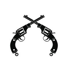 Crossed revolvers black icon vector image