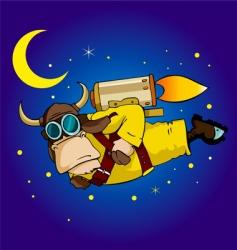 flying bull vector image vector image